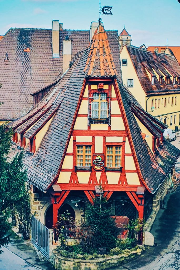 Colourful building in Rothenburg ob der Tauber