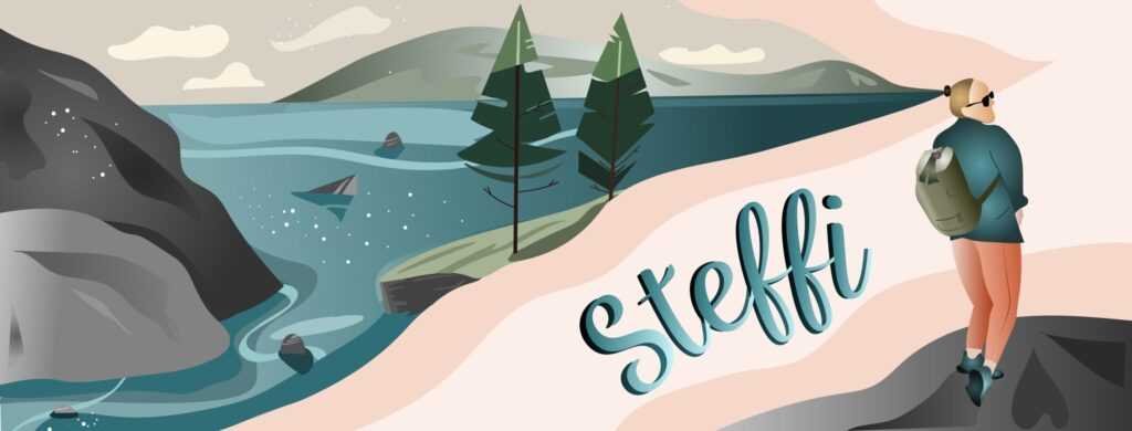 Banner design by Natascha Götz - illustration of rocks, mountains, water, trees, a path and a woman (Steffi). The name Steffi is written along the path illustration in a handwriting style.