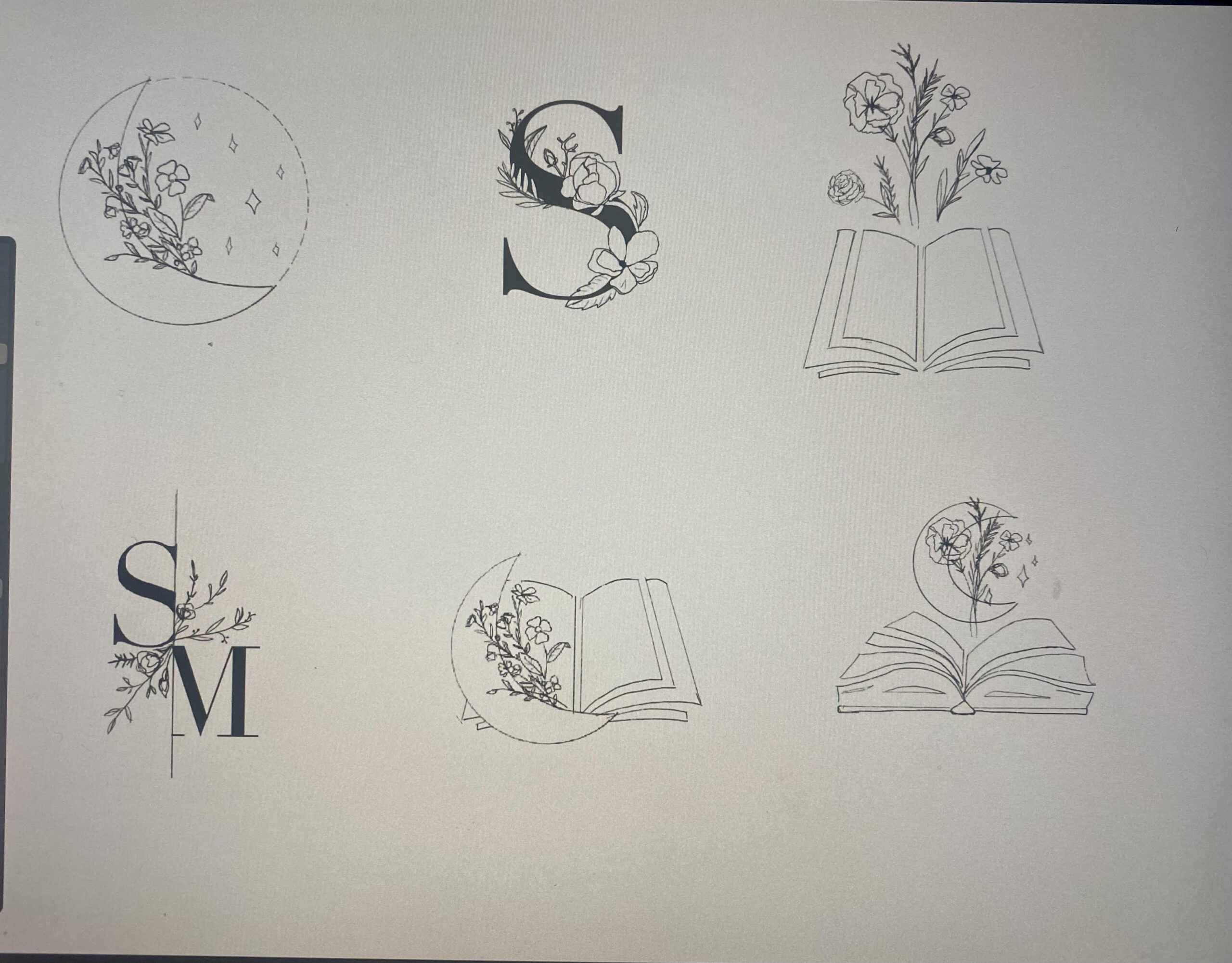black and white image of six different sketches of the logo design.