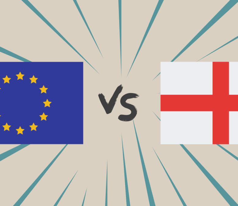 Graphic design with the EU flag vs. England flag
